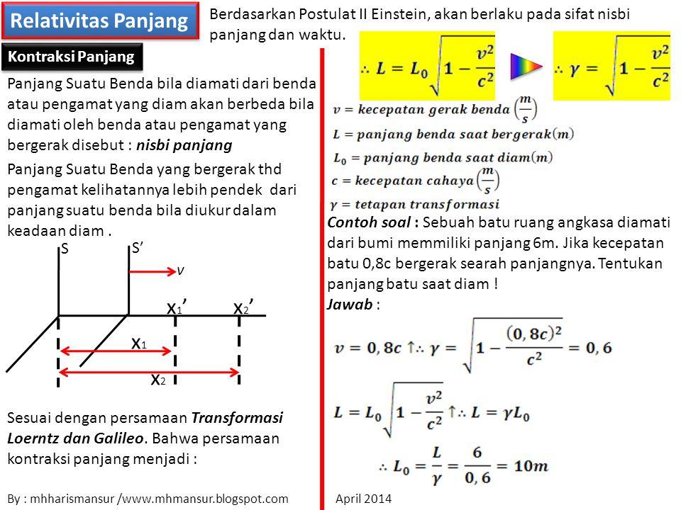 Relativitas Panjang Berdasarkan Postulat II Einstein, akan berlaku pada sifat nisbi panjang dan waktu.