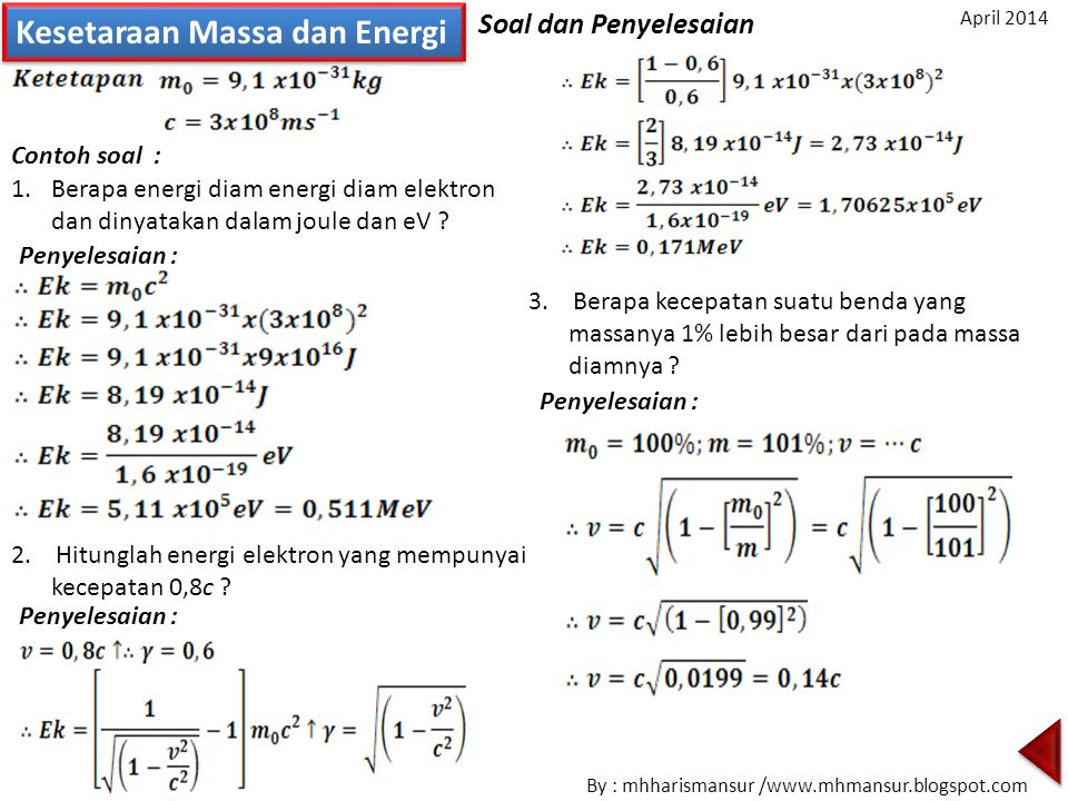 Kesetaraan Massa dan Energi Contoh soal : 3. Berapa kecepatan suatu benda yang massanya 1% lebih besar dari pada massa diamnya ? Penyelesaian : 1.Bera