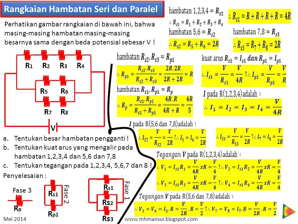 Rangkaian Hambatan Seri dan Paralel R1R1 R2R2 R3R3 R4R4 R5R5 R6R6 R7R7 R8R8 V Perhatikan gambar rangkaian di bawah ini, bahwa masing-masing hambatan m