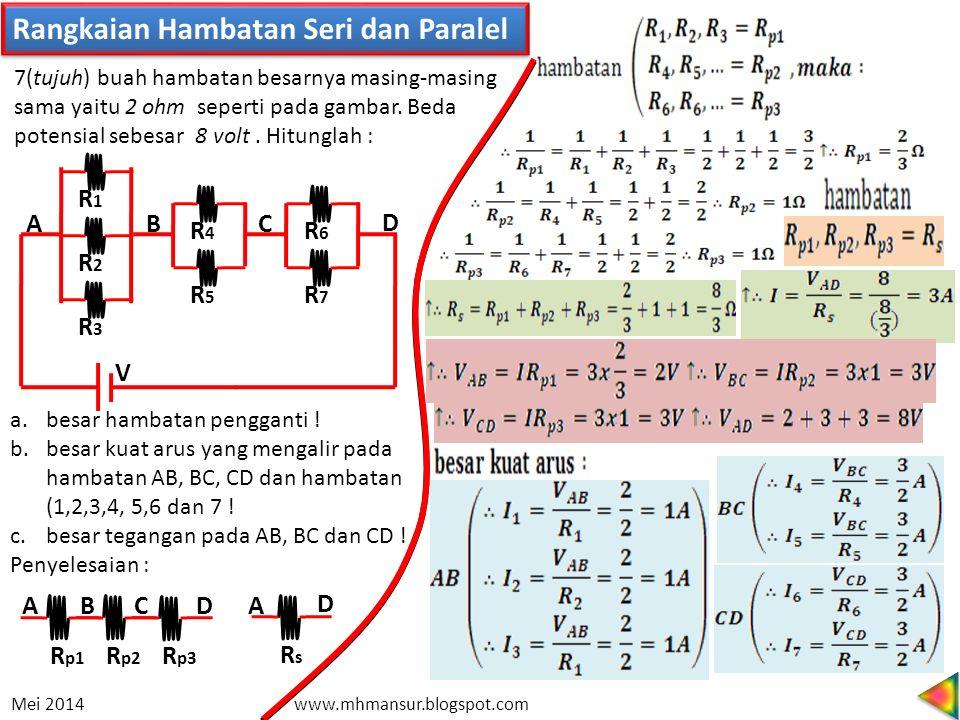 Rangkaian Hambatan Seri dan Paralel R4R4 R5R5 R6R6 R7R7 R1R1 R2R2 R3R3 V D C BA 7(tujuh) buah hambatan besarnya masing-masing sama yaitu 2 ohm seperti