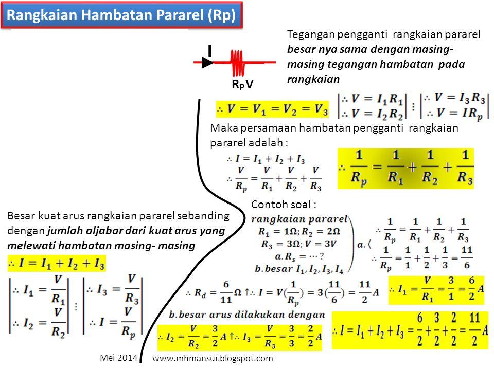 I1I1 I2I2 I3I3 V1V1 R1R1 V2V2 R2R2 V3V3 R3R3 Rangkaian Hambatan Pararel (Rp) I VRpRp I Tegangan pengganti rangkaian pararel besar nya sama dengan masing- masing tegangan hambatan pada rangkaian Besar kuat arus rangkaian pararel sebanding dengan jumlah aljabar dari kuat arus yang melewati hambatan masing- masing Maka persamaan hambatan pengganti rangkaian pararel adalah : Contoh soal : Mei 2014 www.mhmansur.blogspot.com