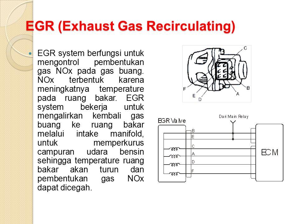 EGR (Exhaust Gas Recirculating) EGR system berfungsi untuk mengontrol pembentukan gas NOx pada gas buang. NOx terbentuk karena meningkatnya temperatur