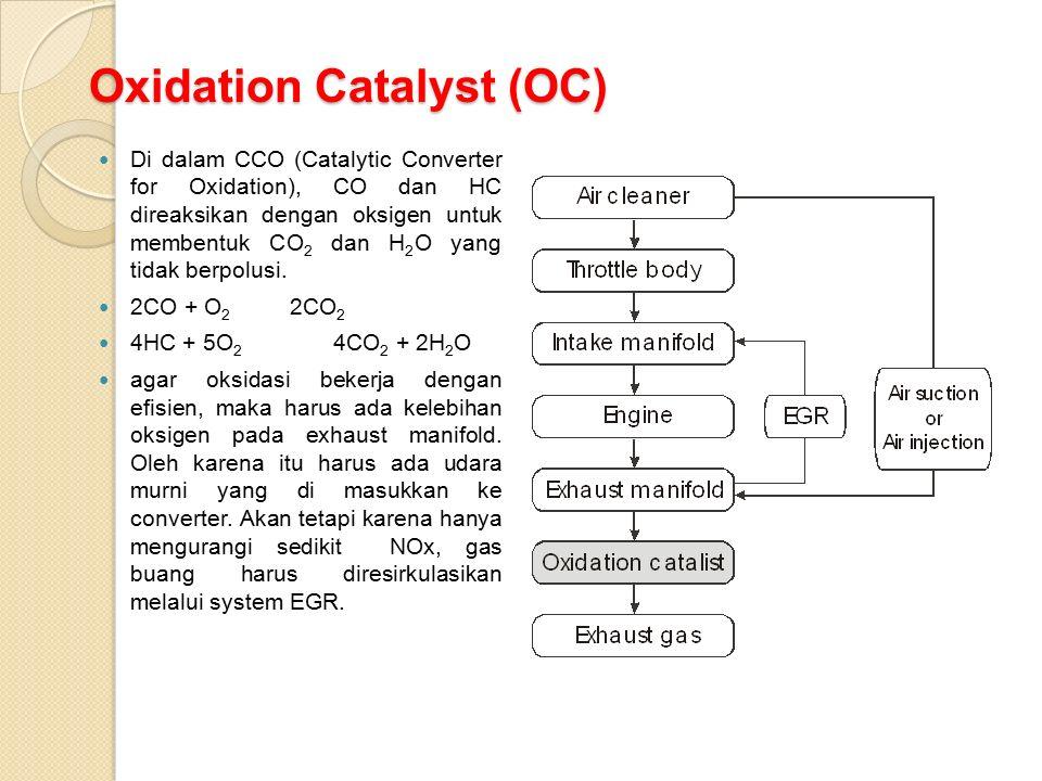Oxidation Catalyst (OC) Di dalam CCO (Catalytic Converter for Oxidation), CO dan HC direaksikan dengan oksigen untuk membentuk CO 2 dan H 2 O yang tidak berpolusi.
