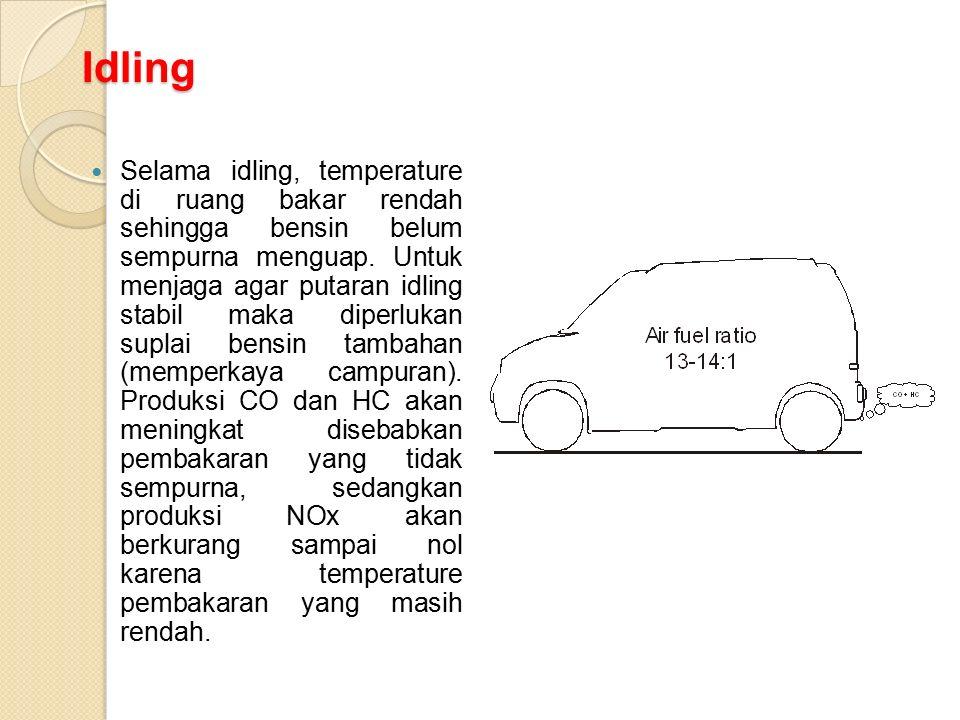 Idling Selama idling, temperature di ruang bakar rendah sehingga bensin belum sempurna menguap. Untuk menjaga agar putaran idling stabil maka diperluk