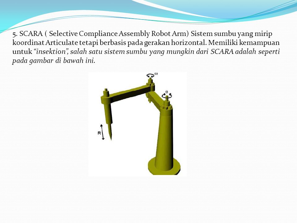 5. SCARA ( Selective Compliance Assembly Robot Arm) Sistem sumbu yang mirip koordinat Articulate tetapi berbasis pada gerakan horizontal. Memiliki kem