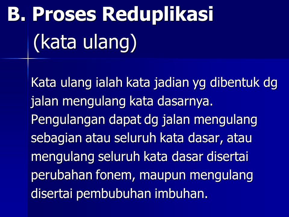 B. Proses Reduplikasi B. Proses Reduplikasi (kata ulang) (kata ulang) Kata ulang ialah kata jadian yg dibentuk dg Kata ulang ialah kata jadian yg dibe