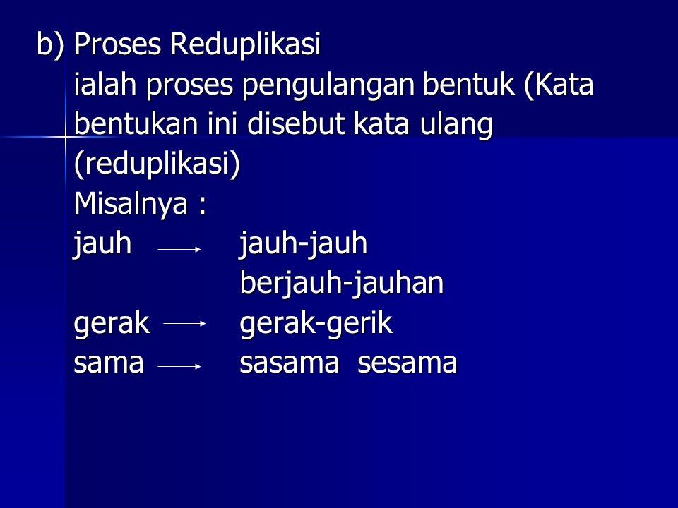 b) Proses Reduplikasi ialah proses pengulangan bentuk (Kata ialah proses pengulangan bentuk (Kata bentukan ini disebut kata ulang bentukan ini disebut