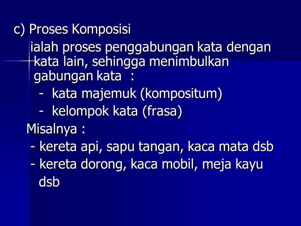 c) Proses Komposisi ialah proses penggabungan kata dengan kata lain, sehingga menimbulkan gabungan kata : ialah proses penggabungan kata dengan kata l