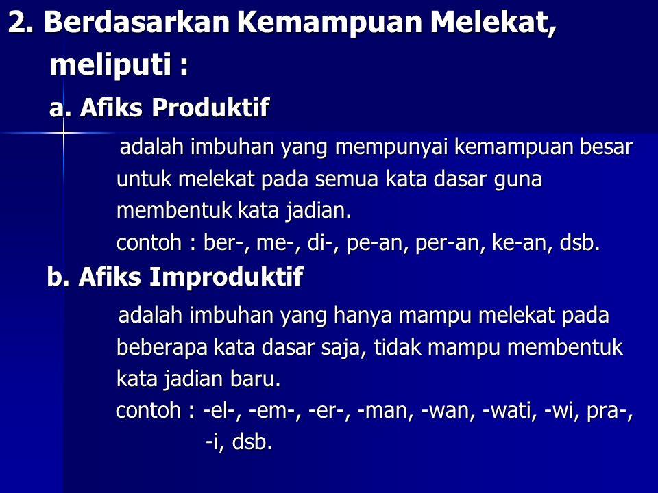 c 2. Berdasarkan Kemampuan Melekat, meliputi : meliputi : a. Afiks Produktif a. Afiks Produktif adalah imbuhan yang mempunyai kemampuan besar adalah i
