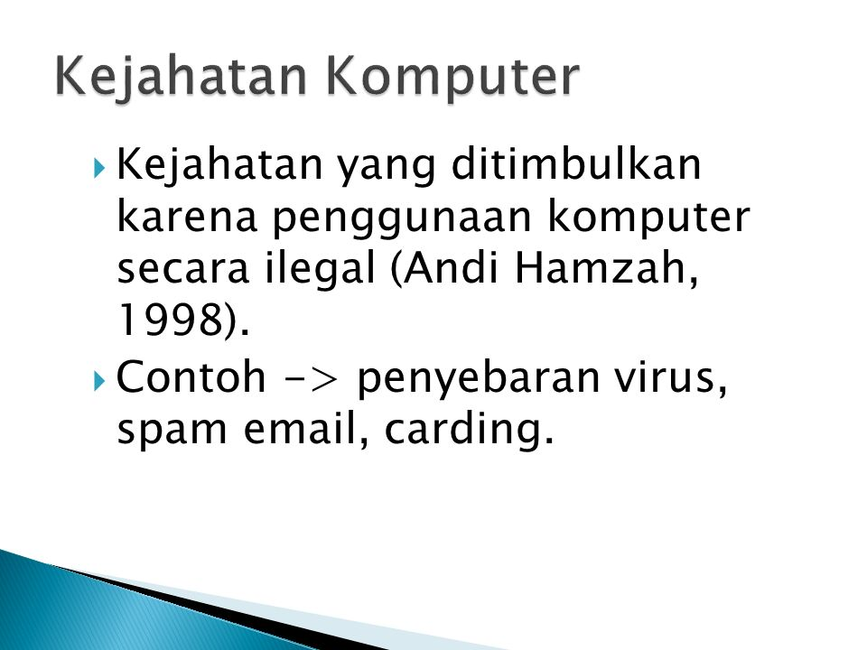  Kejahatan yang ditimbulkan karena penggunaan komputer secara ilegal (Andi Hamzah, 1998).
