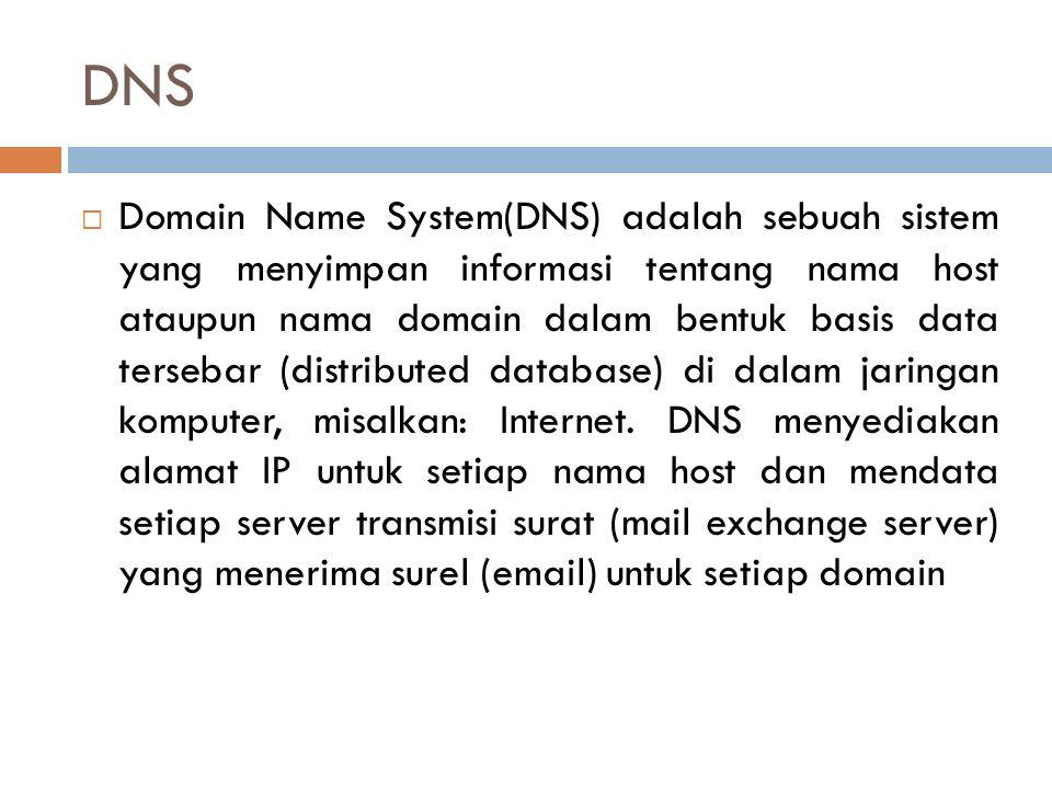 DNS  Domain Name System(DNS) adalah sebuah sistem yang menyimpan informasi tentang nama host ataupun nama domain dalam bentuk basis data tersebar (di