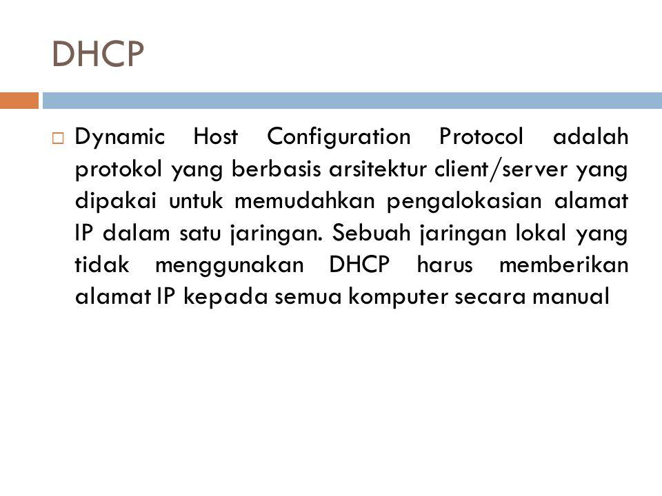 DHCP  Dynamic Host Configuration Protocol adalah protokol yang berbasis arsitektur client/server yang dipakai untuk memudahkan pengalokasian alamat I