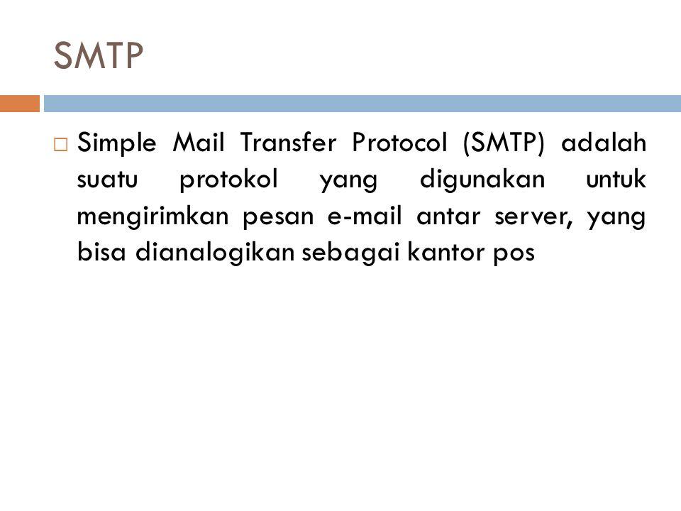 SMTP  Simple Mail Transfer Protocol (SMTP) adalah suatu protokol yang digunakan untuk mengirimkan pesan e-mail antar server, yang bisa dianalogikan s