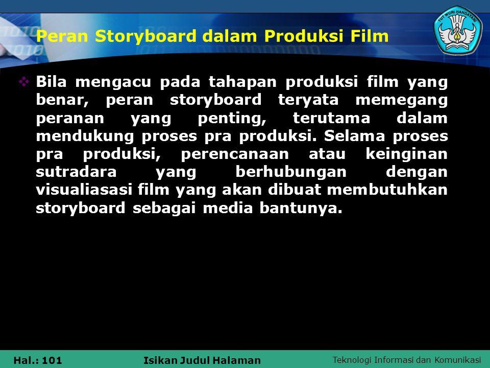 Teknologi Informasi dan Komunikasi Hal.: 101Isikan Judul Halaman Peran Storyboard dalam Produksi Film  Bila mengacu pada tahapan produksi film yang b