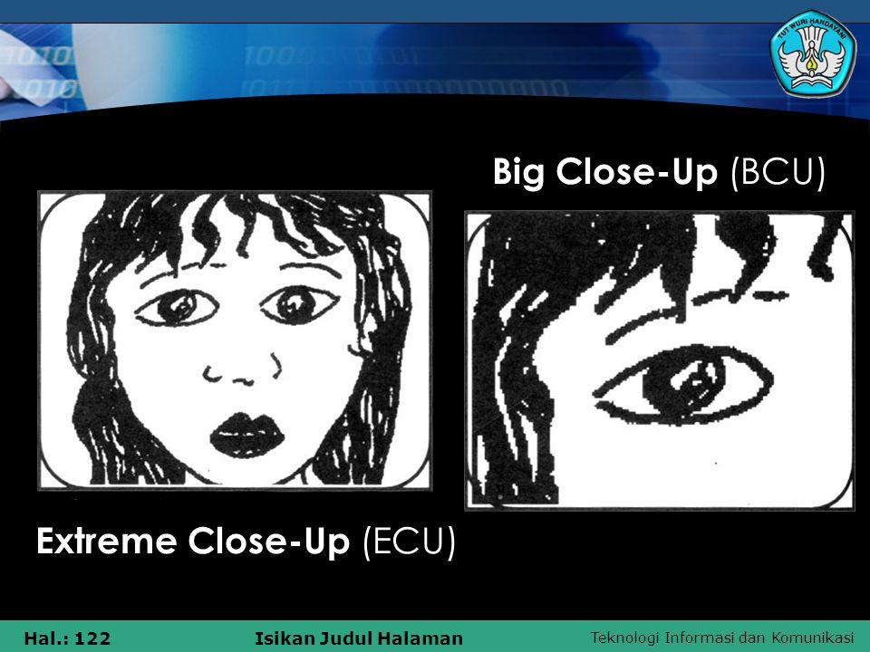 Teknologi Informasi dan Komunikasi Hal.: 122Isikan Judul Halaman Big Close-Up (BCU) Extreme Close-Up (ECU)