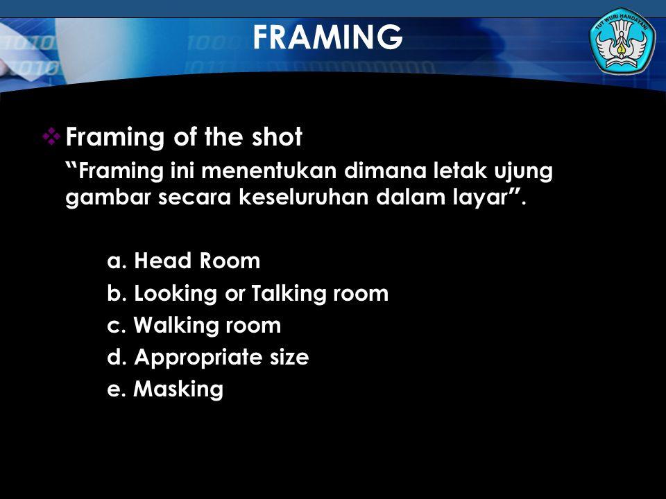"""Teknologi Informasi dan Komunikasi Hal.: 123Isikan Judul Halaman  Framing of the shot """" Framing ini menentukan dimana letak ujung gambar secara kesel"""