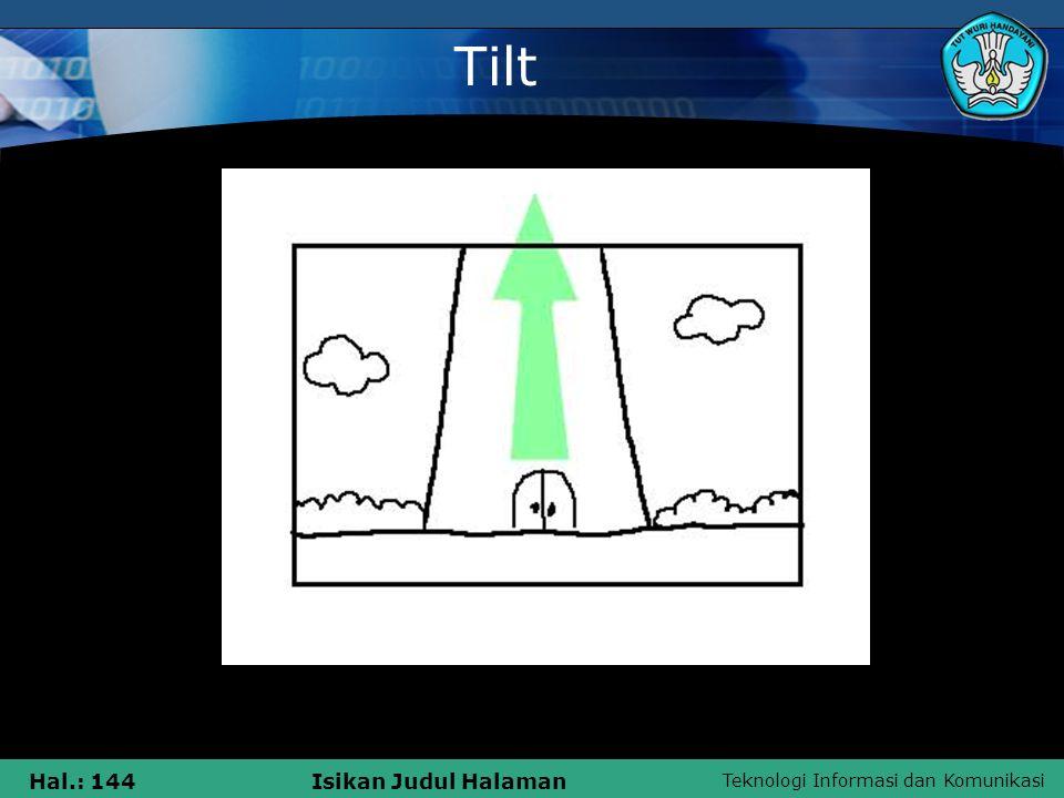 Teknologi Informasi dan Komunikasi Hal.: 144Isikan Judul Halaman Tilt