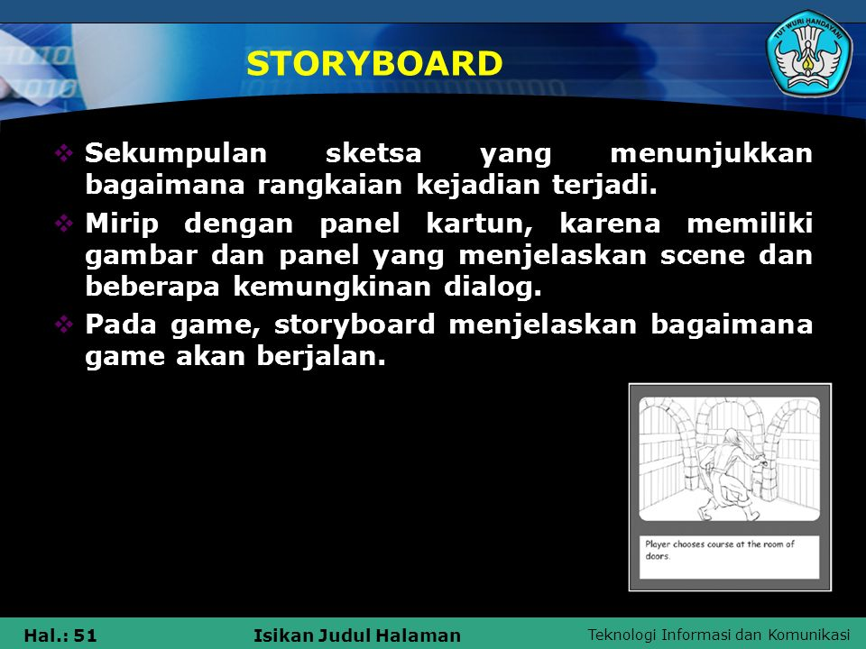 Teknologi Informasi dan Komunikasi Hal.: 51Isikan Judul Halaman STORYBOARD  Sekumpulan sketsa yang menunjukkan bagaimana rangkaian kejadian terjadi.
