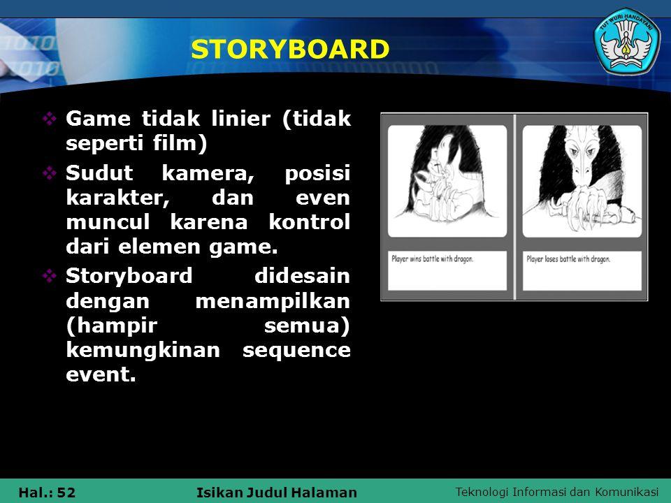 Teknologi Informasi dan Komunikasi Hal.: 52Isikan Judul Halaman STORYBOARD  Game tidak linier (tidak seperti film)  Sudut kamera, posisi karakter, d