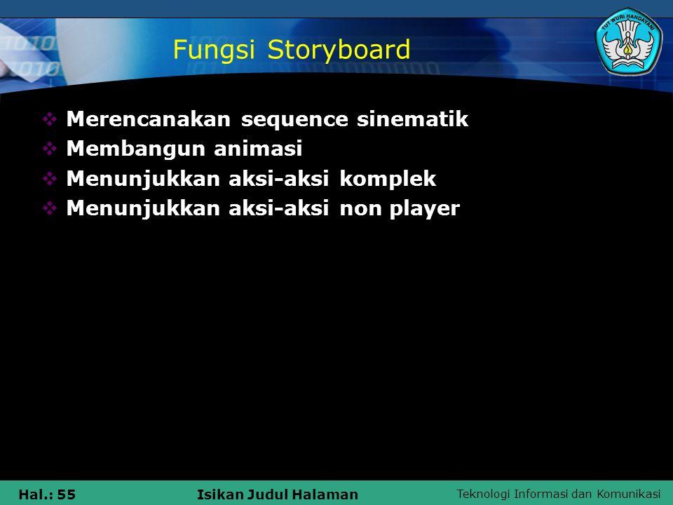 Teknologi Informasi dan Komunikasi Hal.: 55Isikan Judul Halaman Fungsi Storyboard  Merencanakan sequence sinematik  Membangun animasi  Menunjukkan