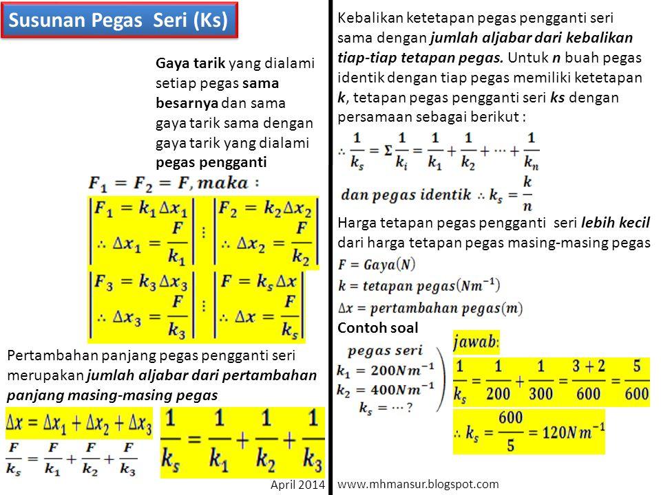 Susunan Pegas Seri (Ks) k3k3 k2k2 k1k1 F=mg ksks Gaya tarik yang dialami setiap pegas sama besarnya dan sama gaya tarik sama dengan gaya tarik yang di