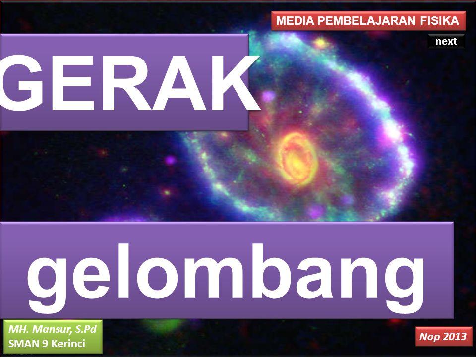 MEDIA PEMBELAJARAN FISIKA GERAK gelombang MH. Mansur, S.Pd SMAN 9 Kerinci MH. Mansur, S.Pd SMAN 9 Kerinci Nop 2013 next
