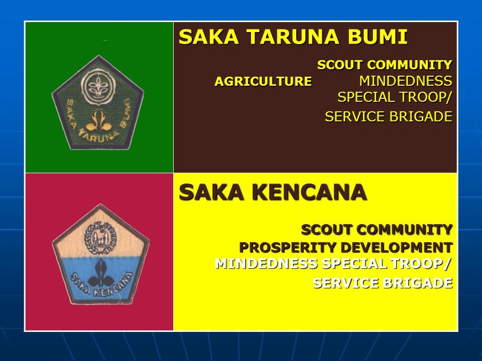 SAKA TARUNA BUMI SCOUT COMMUNITY AGRICULTURE MINDEDNESS SPECIAL TROOP/ SERVICE BRIGADE SAKA KENCANA SCOUT COMMUNITY PROSPERITY DEVELOPMENT MINDEDNESS SPECIAL TROOP/ SERVICE BRIGADE