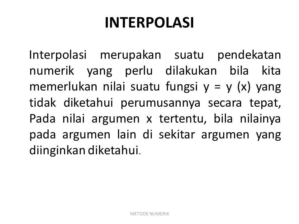 INTERPOLASI LINIER Interpolasi linier merupakan metode yang digunakan untuk mengetahui nilai dari sesuatu yang berada didalam sebuah interval atau diantara dua buah titik yang segaris.