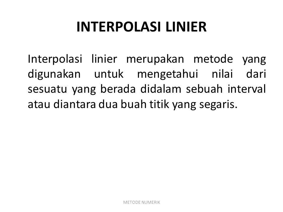 FUNGSI Interpolasi linear untuk meramalkan nilai y = f(x) dapat dilakukan dengan menganggap bahwa y1 dan y2 dihubungkan oleh suatu garis lurus.
