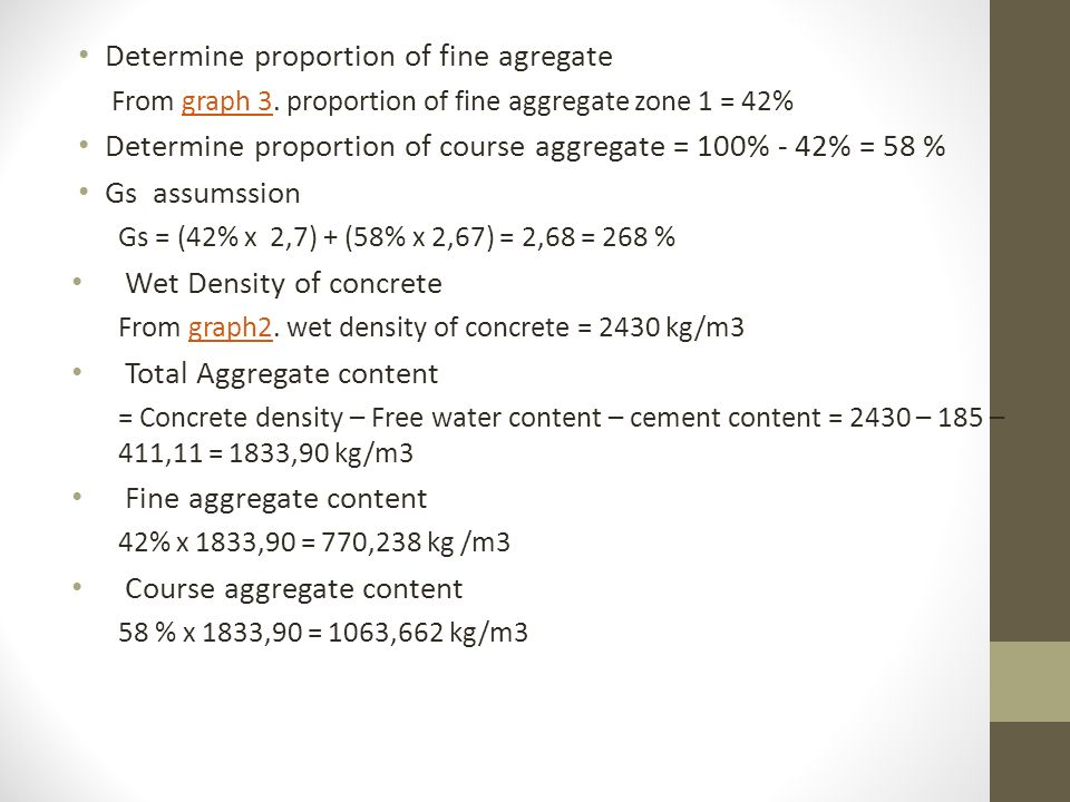 Determine proportion of fine agregate From graph 3.