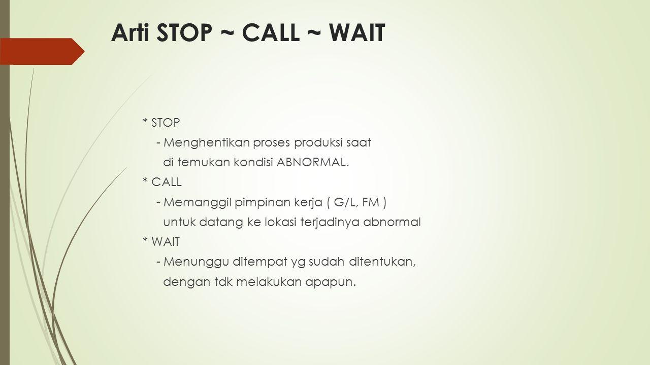 Arti STOP ~ CALL ~ WAIT * STOP - Menghentikan proses produksi saat di temukan kondisi ABNORMAL. * CALL - Memanggil pimpinan kerja ( G/L, FM ) untuk da