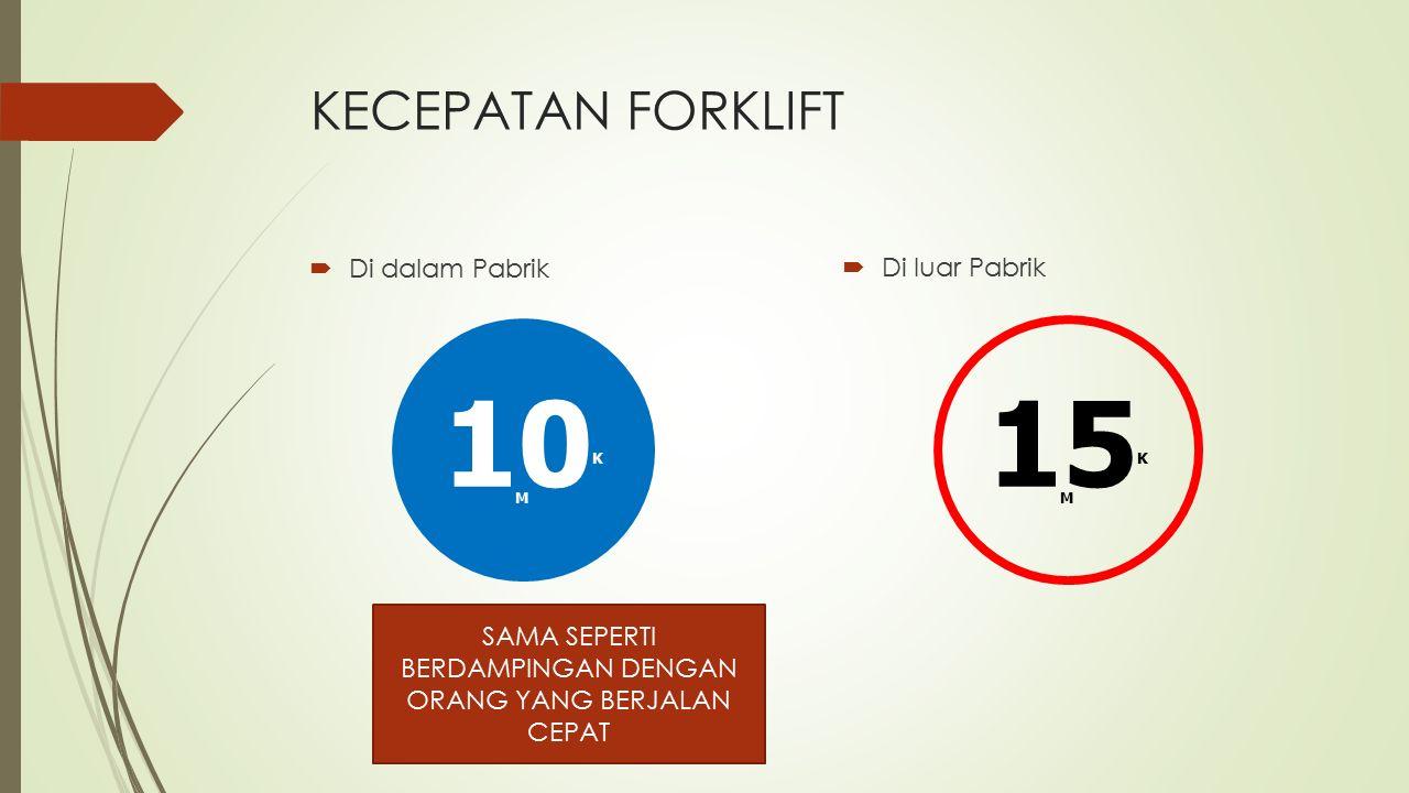 DASAR KESELAMATAN MENGOPRASIKAN FORKLIFT 1.Forklift hanya dikendarai/dioprasikan oleh operator yang mampu & sudah ditraning (mempunyai SIO FL).