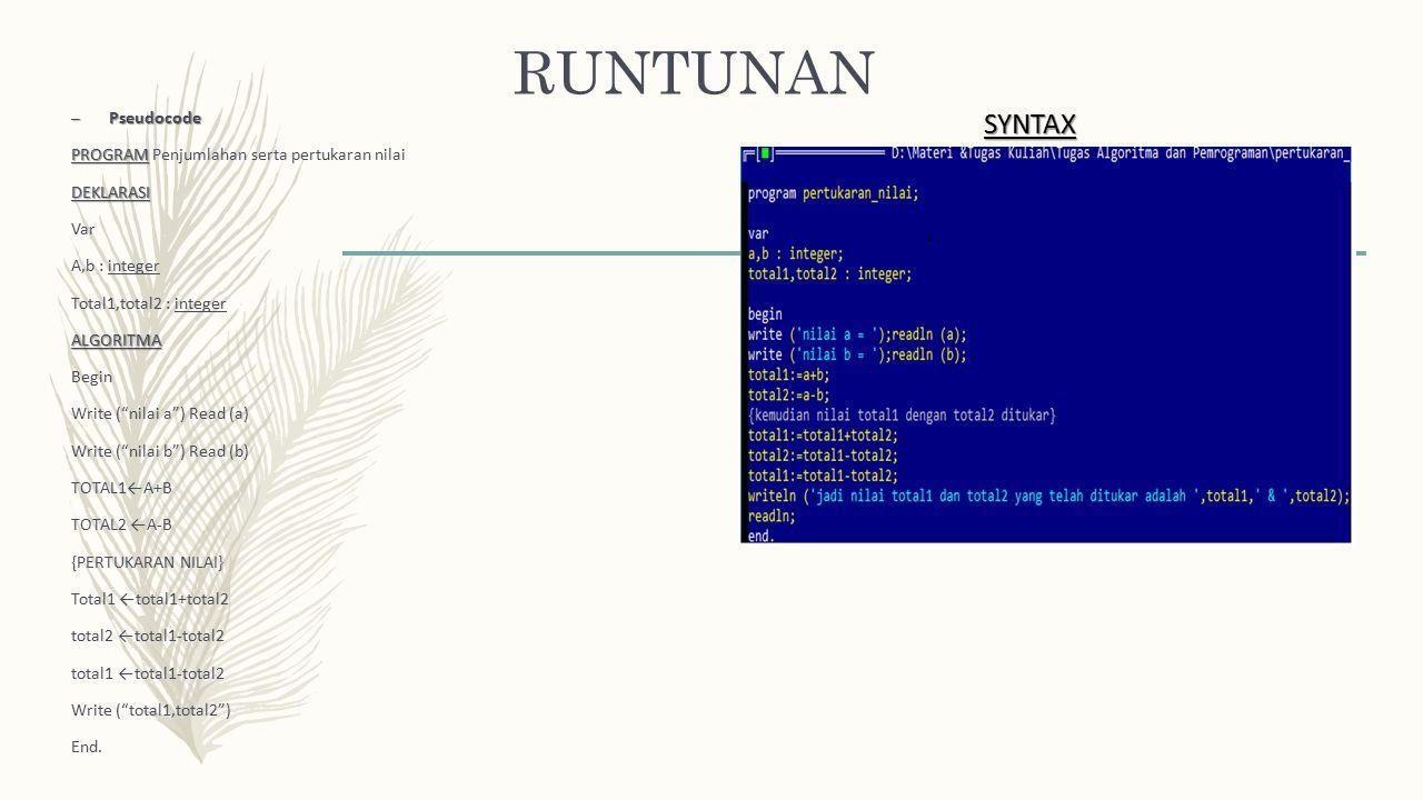 """RUNTUNAN – Pseudocode PROGRAM PROGRAM Penjumlahan serta pertukaran nilaiDEKLARASI Var A,b : integer Total1,total2 : integerALGORITMA Begin Write (""""nil"""