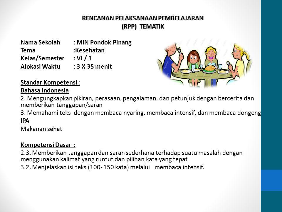 RENCANAN PELAKSANAAN PEMBELAJARANRENCANAN PELAKSANAAN PEMBELAJARAN (RPP) TEMATIK(RPP) TEMATIK Nama Sekolah: MIN Pondok Pinang Tema:Kesehatan Kelas/Sem