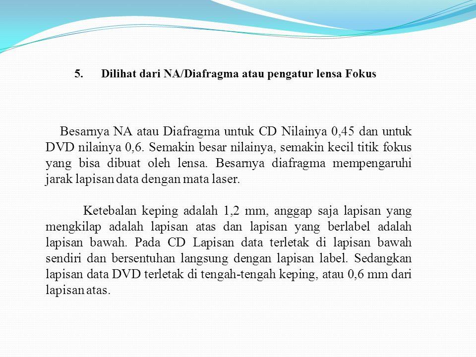 5. Dilihat dari NA/Diafragma atau pengatur lensa Fokus Besarnya NA atau Diafragma untuk CD Nilainya 0,45 dan untuk DVD nilainya 0,6. Semakin besar nil