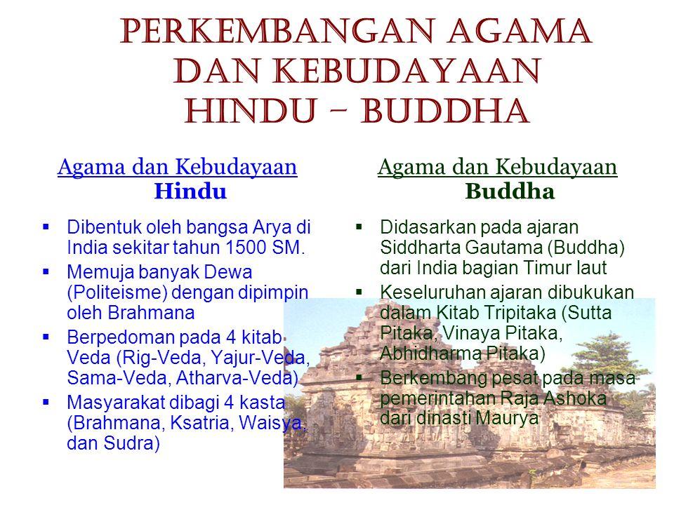 Perkembangan Agama dan Kebudayaan Hindu – Buddha Agama dan Kebudayaan Hindu  Dibentuk oleh bangsa Arya di India sekitar tahun 1500 SM.  Memuja banya