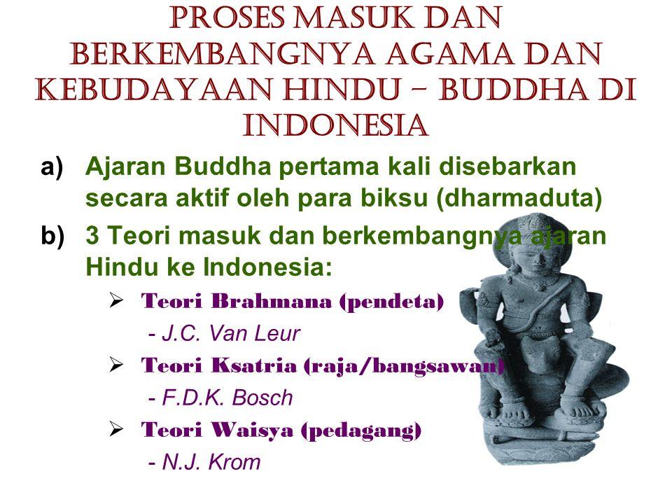 Proses Masuk dan Berkembangnya Agama dan Kebudayaan Hindu – Buddha di Indonesia a)Ajaran Buddha pertama kali disebarkan secara aktif oleh para biksu (