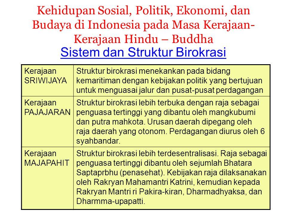 Kehidupan Sosial, Politik, Ekonomi, dan Budaya di Indonesia pada Masa Kerajaan- Kerajaan Hindu – Buddha Sistem dan Struktur Birokrasi Kerajaan SRIWIJA