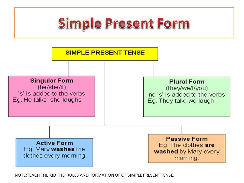 NOTE:TEACH THE KID THE RULES AND FORMATION OF OF SIMPLE PRESENT TENSE.