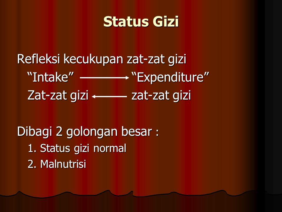 "Status Gizi Refleksi kecukupan zat-zat gizi ""Intake"" ""Expenditure"" Zat-zat gizi zat-zat gizi Dibagi 2 golongan besar : 1. Status gizi normal 2. Malnut"