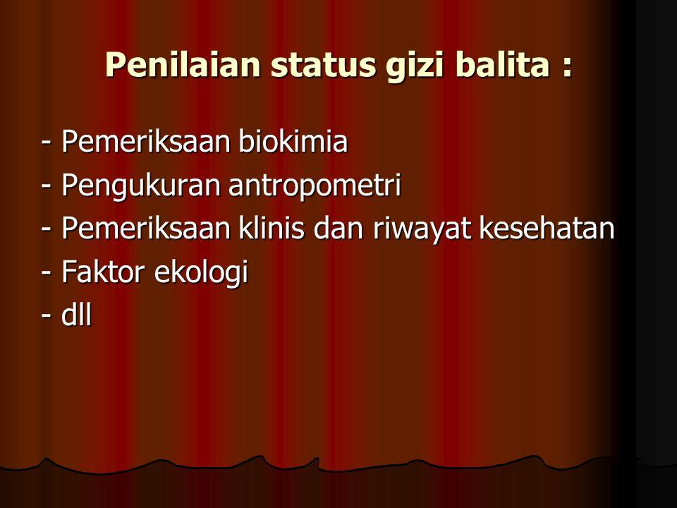 Penilaian status gizi balita : - Pemeriksaan biokimia - Pengukuran antropometri - Pemeriksaan klinis dan riwayat kesehatan - Faktor ekologi - dll