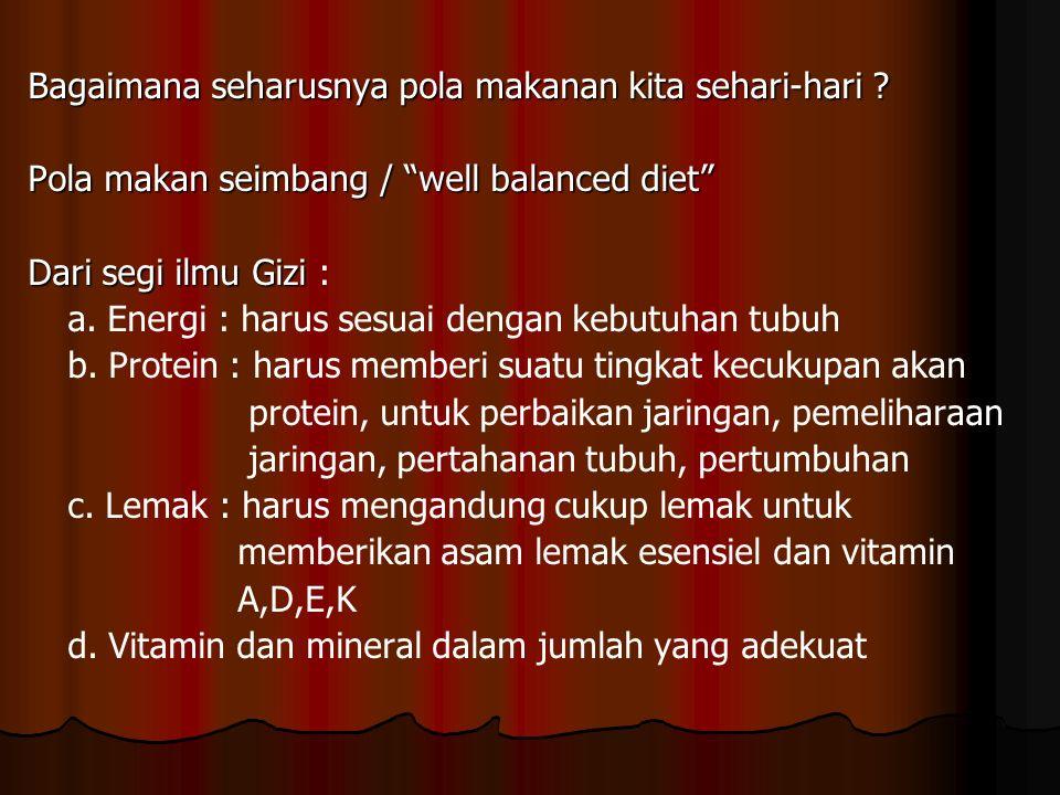 "Bagaimana seharusnya pola makanan kita sehari-hari ? Pola makan seimbang / ""well balanced diet"" Dari segi ilmu Gizi Dari segi ilmu Gizi : a. Energi :"