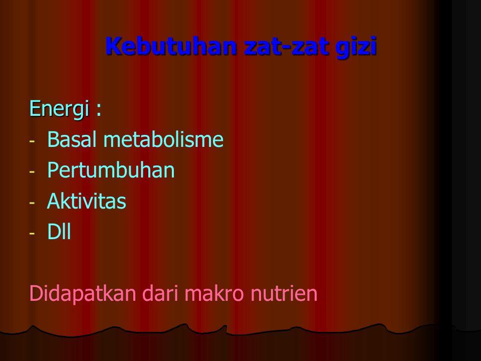 Kebutuhan zat-zat gizi Energi Energi : - - Basal metabolisme - - Pertumbuhan - - Aktivitas - - Dll Didapatkan dari makro nutrien
