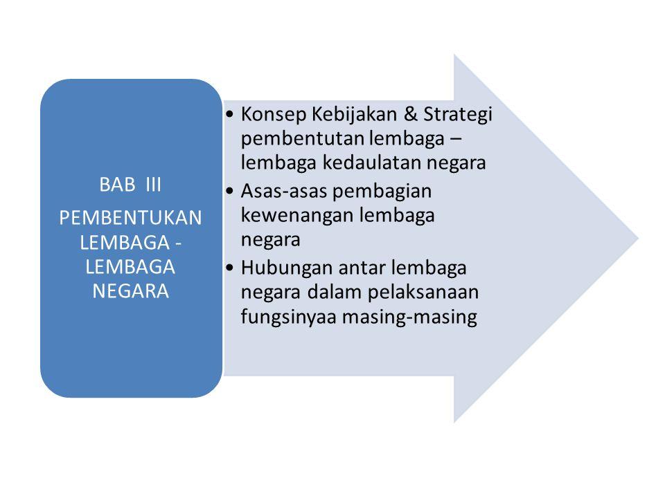 Konsep Kebijakan & Strategi pembentutan lembaga – lembaga kedaulatan negara Asas-asas pembagian kewenangan lembaga negara Hubungan antar lembaga negara dalam pelaksanaan fungsinyaa masing-masing BAB III PEMBENTUKAN LEMBAGA - LEMBAGA NEGARA