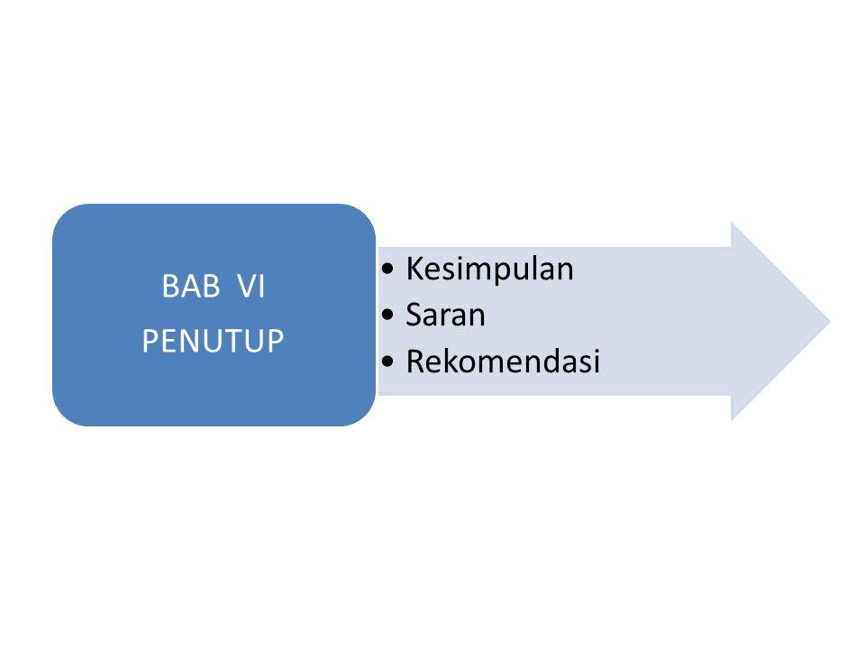 Kesimpulan Saran Rekomendasi BAB VI PENUTUP