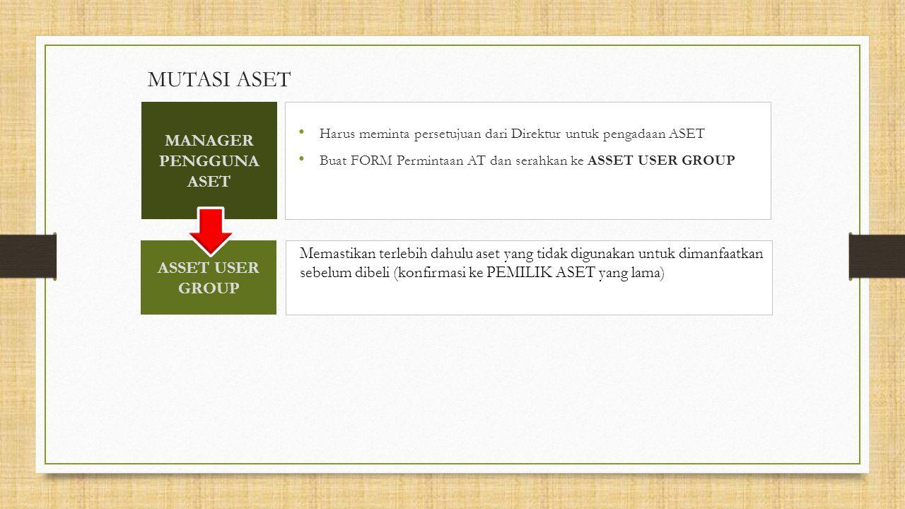 MUTASI ASET Harus meminta persetujuan dari Direktur untuk pengadaan ASET Buat FORM Permintaan AT dan serahkan ke ASSET USER GROUP Memastikan terlebih