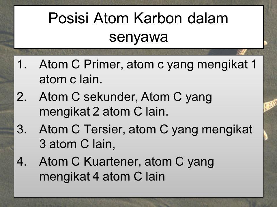 Posisi Atom Karbon dalam senyawa 1.Atom C Primer, atom c yang mengikat 1 atom c lain. 2.Atom C sekunder, Atom C yang mengikat 2 atom C lain. 3.Atom C