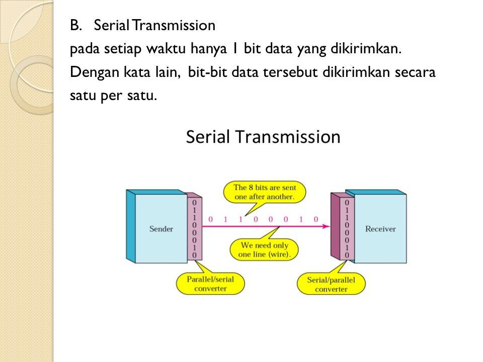 B.Serial Transmission pada setiap waktu hanya 1 bit data yang dikirimkan.