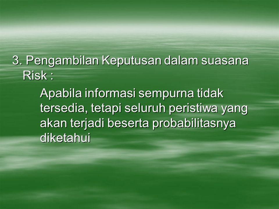 3. Pengambilan Keputusan dalam suasana Risk : Apabila informasi sempurna tidak tersedia, tetapi seluruh peristiwa yang akan terjadi beserta probabilit
