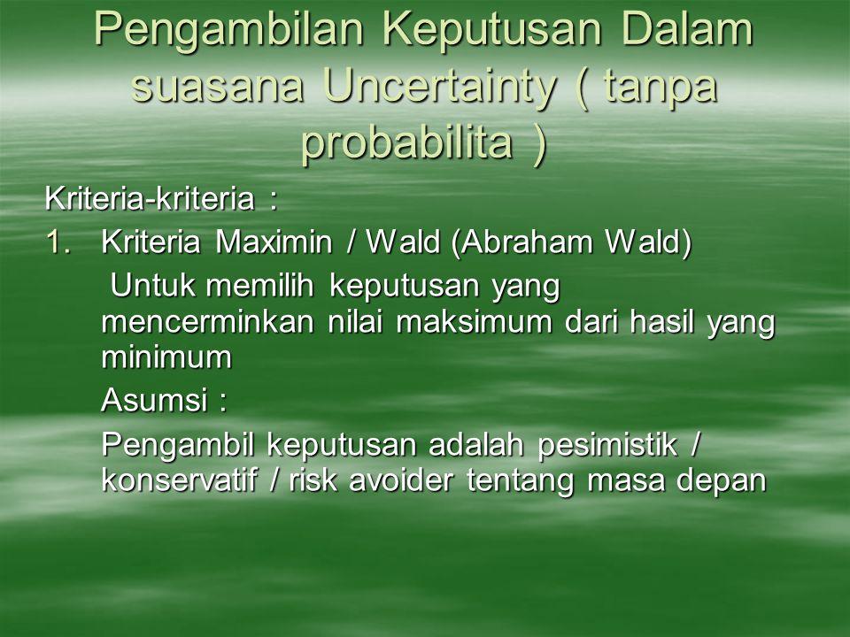 Pengambilan Keputusan Dalam suasana Uncertainty ( tanpa probabilita ) Kriteria-kriteria : 1.Kriteria Maximin / Wald (Abraham Wald) Untuk memilih keput